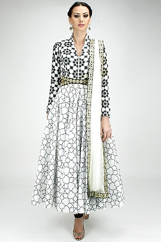 Print on print high embroidered cut out anarkali by SVA BY SONAM & PARAS MODI