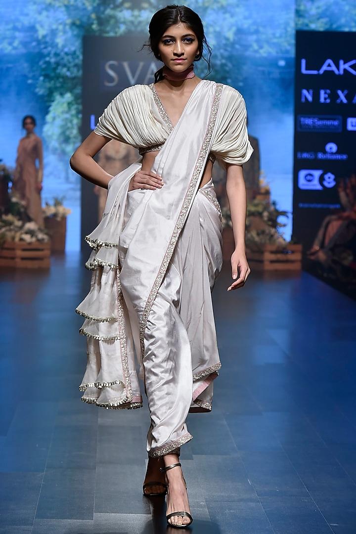 Beige Embroidered Pant Saree Set by SVA BY SONAM & PARAS MODI
