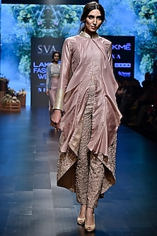 Pink Embroidered Cascade Jacket With Pants by SVA BY SONAM & PARAS MODI