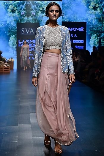 Pink Embroidered Chevron Crop Top with Skirt & Denim Jacket by SVA BY SONAM & PARAS MODI