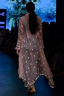 Blue Printed Denim Kurta With Pants & Embroidered Jacket by SVA BY SONAM & PARAS MODI