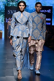 Light Blue Embroidered Printed Peplum Top With Drape Pants by SVA BY SONAM & PARAS MODI