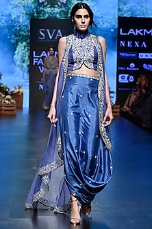 Mineral Blue Embroidered Blouse with Drape Skirt & Jacket by SVA BY SONAM & PARAS MODI