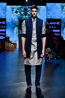 Blue Chevron Long Bundi Jacket by SVA BY SONAM & PARAS MODI Men