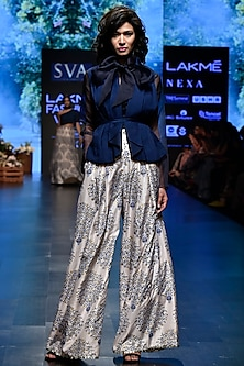 Blue Printed Palazzo Pants With Shirt, Bustier & Waist Coat by SVA BY SONAM & PARAS MODI