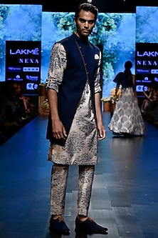 Beige & Blue Printed Kurta With Pants by SVA BY SONAM & PARAS MODI Men
