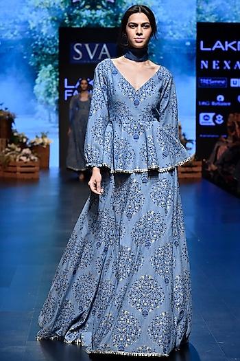Light Blue Printed Peplum Top With Lehenga Skirt by SVA BY SONAM & PARAS MODI