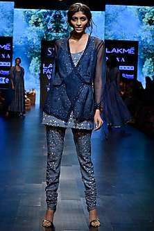 Blue Embroidered Printed Kurta With Pants & Wrap by SVA BY SONAM & PARAS MODI