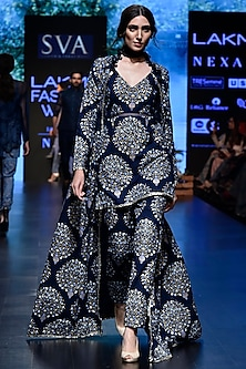 Blue Printed Denim Jacket With Kurta & Pants by SVA BY SONAM & PARAS MODI