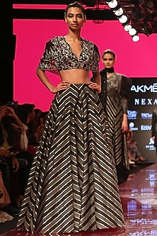 Black Embroidered Lehenga Skirt With Cape Blouse by SVA BY SONAM & PARAS MODI