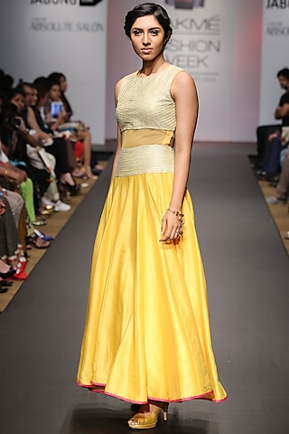 Yellow floor length dress with sheer midriff by SVA BY SONAM & PARAS MODI