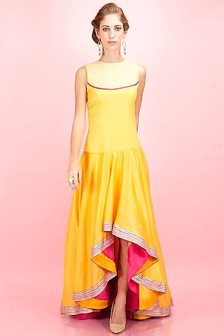 Yellow high low embroidered dress by SVA BY SONAM & PARAS MODI