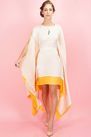 Beige and yellow cut out details kaftan by SVA BY SONAM & PARAS MODI