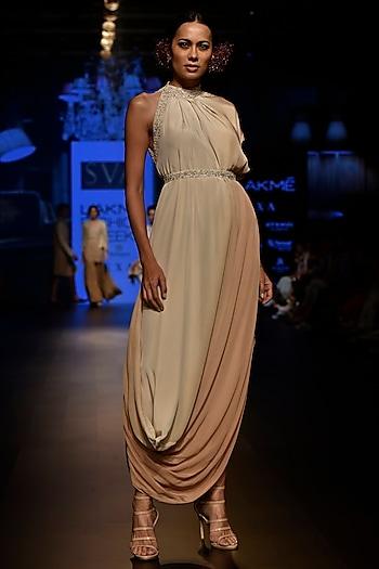 Beige Embellished Cowl Dress with Belt by SVA BY SONAM & PARAS MODI