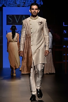 Beige Ombre Embroidered Sherwani Set by SVA BY SONAM & PARAS MODI