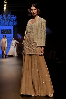 Beige Embroidered Kurta Set by SVA BY SONAM & PARAS MODI