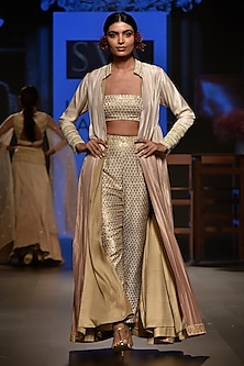 Beige Embellished Bustier with Cigarette Pants and Jacket by SVA BY SONAM & PARAS MODI