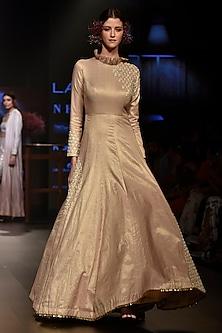 Beige Embellished Anarkali by SVA BY SONAM & PARAS MODI