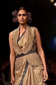 Beige Embellished Saree with Jacket Blouse by SVA BY SONAM & PARAS MODI