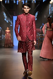 Dark Purple Embellished Ombre Kurta Set by SVA BY SONAM & PARAS MODI Men