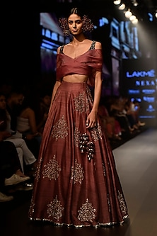 Purple Embellished Ombre Lehenga Set by SVA BY SONAM & PARAS MODI