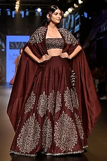 Dark Purple Embellished Lehenga Set with Cape by SVA BY SONAM & PARAS MODI