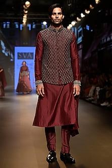 Purple Embellished Ombre Bundi Jacket by SVA BY SONAM & PARAS MODI Men