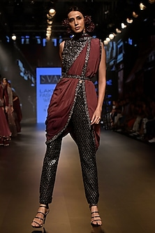 Black Embroidered Crop Top with Cigaratte Pants and Drape by SVA BY SONAM & PARAS MODI