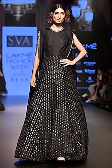 Black Embroidered Anarkali by SVA BY SONAM & PARAS MODI