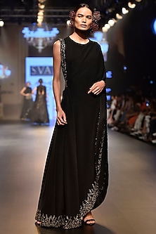 Black Embroidered One Shoulder Drape Saree with Pants and Bustier by SVA BY SONAM & PARAS MODI