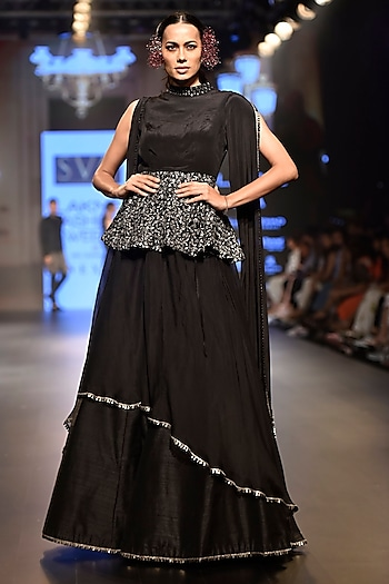 Black Sequins Embellished Lehenga Set by SVA BY SONAM & PARAS MODI
