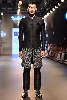 Black Sequins Embellished Sherwani Set by SVA BY SONAM & PARAS MODI