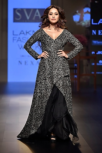 Black Embroidered Cascade Jacket with Drape Skirt by SVA BY SONAM & PARAS MODI