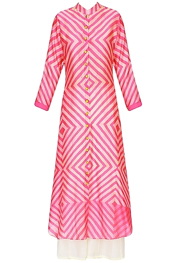 Pink Shibori Effect Asymmetric Kurta With Palazzo Pants  by Swati Vijaivargie