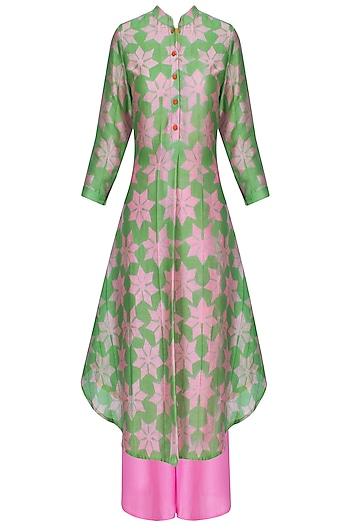 Pink And Green Shibori Floral Print Kurta With Palazzo Pants by Swati Vijaivargie