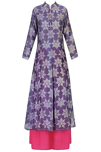 Purple And Grey Shibori Floral Print Kurta With Palazzo Pants by Swati Vijaivargie