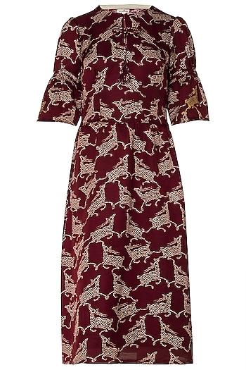 Maroon Deer Print Midi Dress by Swati Vijaivargie
