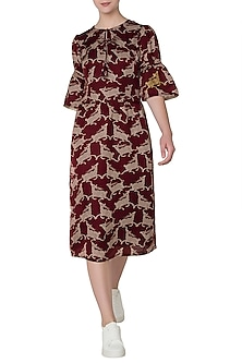 Maroon Deer Print Midi Dress by Swati Vijaivargie