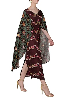 Maroon Bundi Print Maxi Dress by Swati Vijaivargie