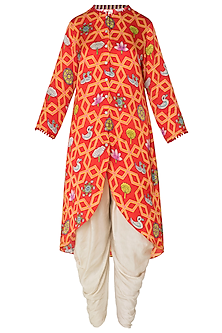 Red Asymmetrical Printed Kurta with Off White Dhoti Pants by Swati Vijaivargie