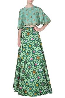 Dark Teal Lehenga Skirt with Floral Embroidered Crop Top by Swati Vijaivargie