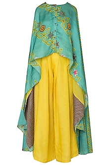 Light Teal Jaal Print Asymmetrical Cape with Yellow Pleated Pants by Swati Vijaivargie