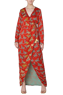 Red Asymmetrical Deer Print Wrap Dress by Swati Vijaivargie