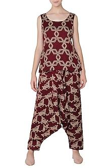 Maroon Abstract Star Print Camisole by Swati Vijaivargie