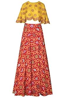 Orange Bundi Scarlet Jaal Printed Lehnega with Yellow Crop Top by Swati Vijaivargie