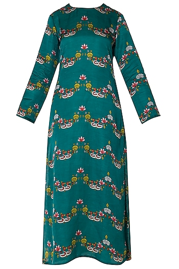 Dark Teal Scallop Printed Straight Kurta by Swati Vijaivargie
