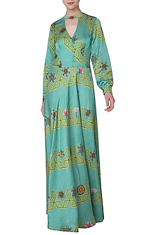 Light Teal Printed Maxi Dress by Swati Vijaivargie