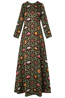 Maroon Printed Maxi Dress by Swati Vijaivargie