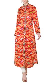 Orange Bundi Scarlet Jaal Printed Kurta by Swati Vijaivargie