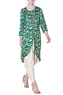 Dark Teal Jaal Printed Kurta with Dhoti Pants by Swati Vijaivargie